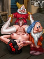 Funny dwarfs adore pound their dicks into snowwhite's mouth and cunt