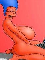 Cartoon marge simpson petting her pussy while watching porn.